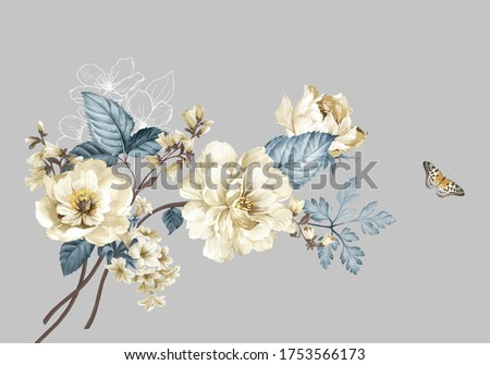 Flowers watercolor illustration.Manual composition.Big Set watercolor elements,Design for textile, wallpapers,Element for design,Greeting card