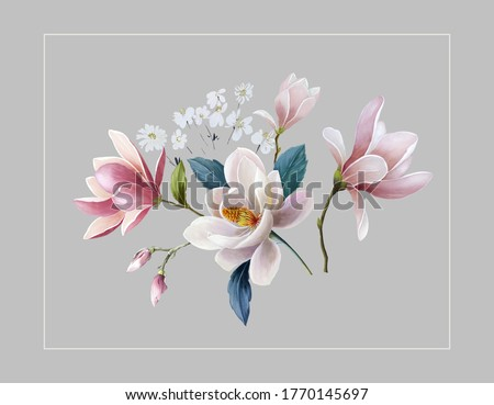 Flowers watercolor illustration.Manual composition.Big Set watercolor elements,Design for textile, wallpapers,Element for design,Greeting card Сток-фото ©