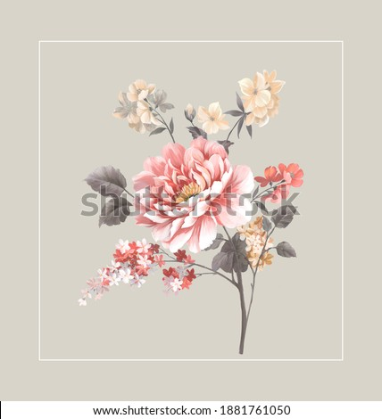 Flowers watercolor illustration.Manual composition.Big Set watercolor elements,Design for textile, wallpapers,Element for design,Greeting card Foto stock ©