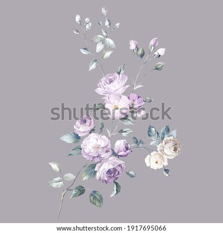 Flowers watercolor illustration.Manual composition.Big Set watercolor elements,Design for textile, wallpapers,Element for design,Greeting card Stockfoto ©