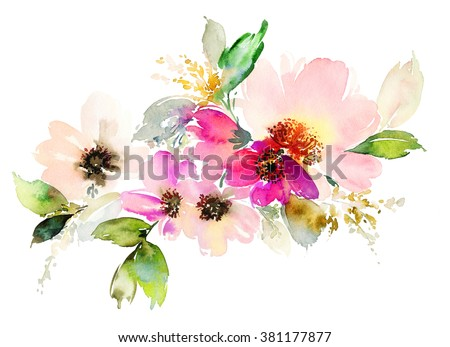 Shutterstock Flowers watercolor illustration. Manual composition. Mother's Day, wedding, birthday, Easter, Valentine's Day. Pastel colors. Spring. Summer.