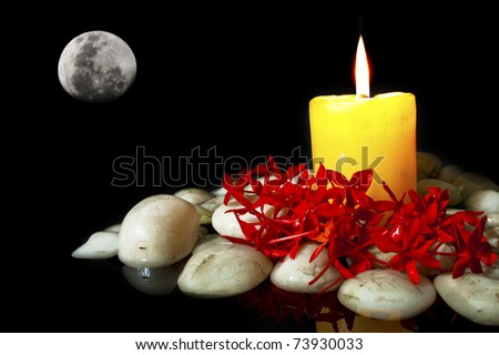 Flowers with candle and white rock for spa