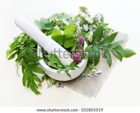 Flowers with Healthy Herbs and Mortar Composition