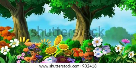 flowers with trees