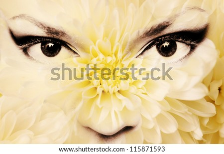 flowers with women's eyes, abstraction