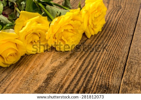 Flowers yellow roses on wood background photography