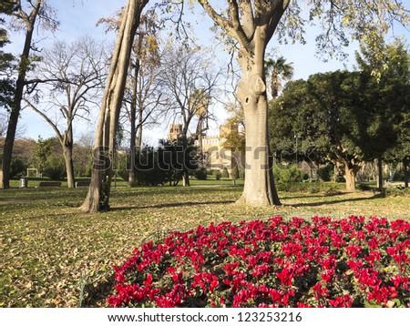 Flowery Corner Ciutadella Park. Barcelona, Catalonia, Spain.