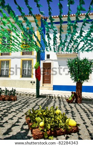 Flowery streets, traditional party, Redondo village, Portugal.