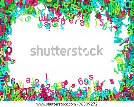 Flowing and colorful 3D Letters Frame on white background
