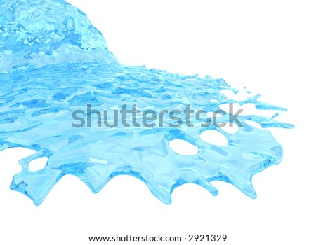 Flowing liquid. Isolated on white background. - stock photo