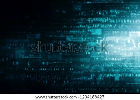 flowing number one and zero text in binary code format in technology background.
