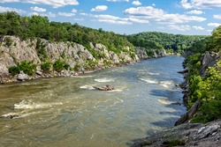 Flowing Potomac River at Great Falls National Park in Virginia on a summer day