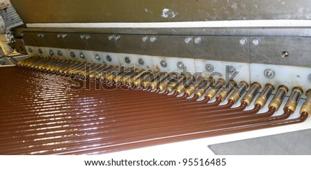 Flowing warm chocolate for candybars production