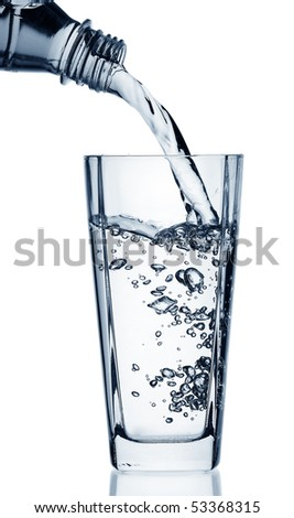 Flowing water in a glass