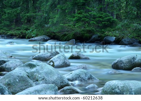 Flowing water of mountain stream near by mountain krivan