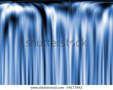 Flowing water, rapid flows like a waterfall. Blue tone. Illustration symbolizing energy, movement, and transparency. Abstract background for any purpose