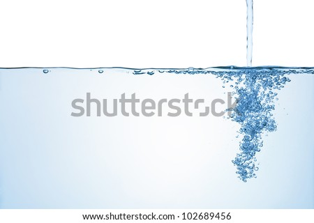 Flowing water with air bubbles, isolated on the white background.