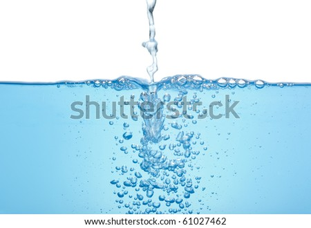 Flowing water with bubbles isolated
