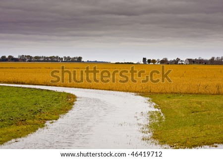 flowing water with farm background