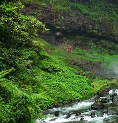Flowing Waters in Ciparay Waterfall Tasikmalaya West Java