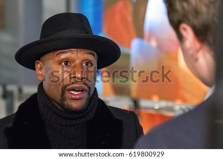 Floyd Mayweather Jr. December 3, 2015. Russia. Moscow. Ostankino. Editorial image.