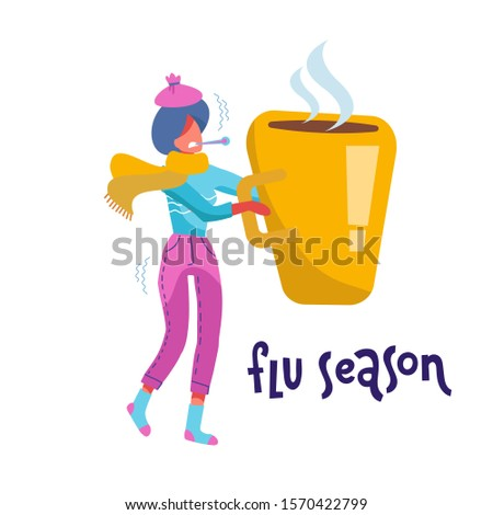 Flu and Sickness Concept with Sick Person Having Cold. Ill ypung woman with Warm scarf Holding Huge Mug with Hot Drink. Medicine Disease Illness. Cartoon Flat hand drawn Illustration.