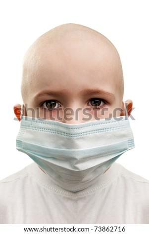 Flu illness child boy in medicine healthcare mask