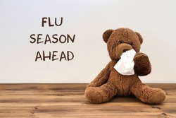 "Flu: teddy bear with a tissue because of a runny nose with the words ""flu season ahead"" in the background"