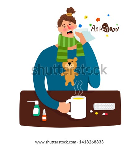 Flu woman. Cartoon sick girl person with fever and heat temperature, headache and medications, winter cold illness character
