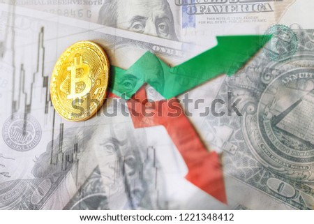 fluctuations  and forecasting of exchange rates of virtual money bitcoin. Red and green arrows with golden Bitcoin ladder on paper dollars bills background. Cryptocurrency concept. #1221348412