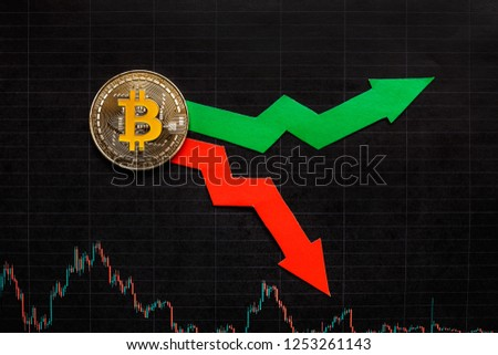 fluctuations  and forecasting of exchange rates of virtual money bitcoin. Red and green arrows with golden Bitcoin ladder on black paper forex chart background. Cryptocurrency concept. #1253261143
