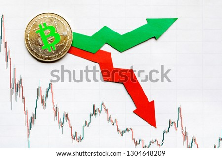 fluctuations  and forecasting of exchange rates of virtual money bitcoin. Red and green arrows with golden Bitcoin ladder on paper forex chart background. Cryptocurrency concept. #1304648209