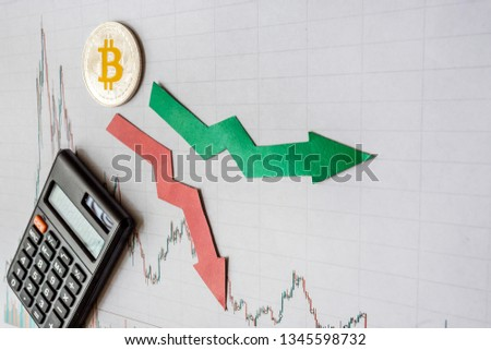 fluctuations  and forecasting of exchange rates of virtual money bitcoin. Red and green arrows with golden Bitcoin ladder on gray paper forex chart background with calculator. Cryptocurrency concept. #1345598732