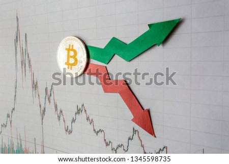 fluctuations  and forecasting of exchange rates of virtual money bitcoin. Red and green arrows with golden Bitcoin ladder on gray paper forex chart background. Cryptocurrency concept. #1345598735
