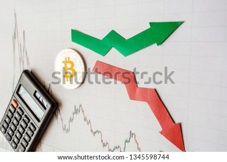 fluctuations  and forecasting of exchange rates of virtual money bitcoin. Red and green arrows with golden Bitcoin ladder on gray paper forex chart background with calculator. Cryptocurrency concept. #1345598744