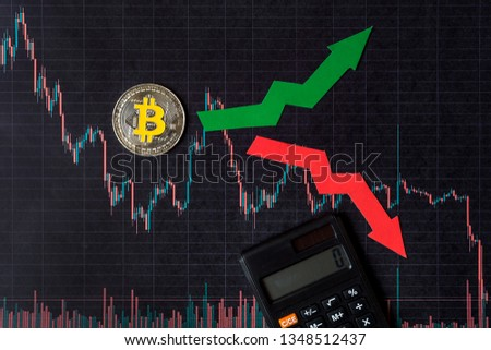 fluctuations  and forecasting of exchange rates of virtual money bitcoin. Red and green arrows with golden Bitcoin ladder on black paper forex chart background with calculator. Cryptocurrency concept. #1348512437