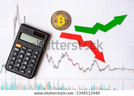 fluctuations  and forecasting of exchange rates of virtual money bitcoin. Red and green arrows with golden Bitcoin ladder on white paper forex chart background with calculator. Cryptocurrency concept. #1348512440