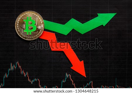fluctuations  and forecasting of exchange rates of virtual money grin bitcoin. Red and green arrows with golden Bitcoin ladder on black paper forex chart background. Cryptocurrency concept. #1304648215