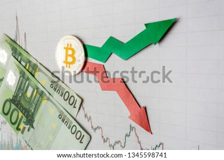 fluctuations  and forecasting of exchange rates of virtual money. Red and green arrows with golden Bitcoin ladder on gray paper forex chart background with euro banknotes. Cryptocurrency concept. #1345598741