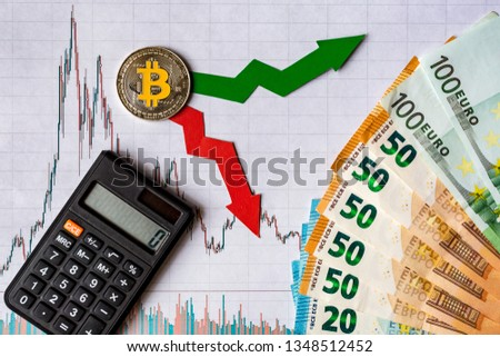 fluctuations  and forecasting of exchange rates of virtual money. Red and green arrows with golden Bitcoin ladder on white paper forex chart background with euro banknotes. Cryptocurrency concept. #1348512452