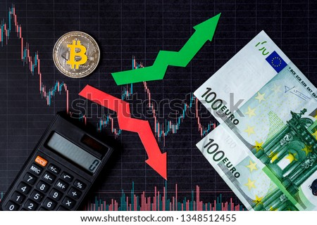 fluctuations  and forecasting of exchange rates of virtual money. Red and green arrows with golden Bitcoin ladder on black paper forex chart background with euro banknotes. Cryptocurrency concept. #1348512455