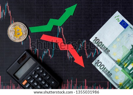 fluctuations  and forecasting of exchange rates of virtual money. Red and green arrows with golden Bitcoin ladder on black paper forex chart background with euro banknotes. Cryptocurrency concept. #1355031986