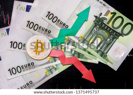 fluctuations  and forecasting of exchange rates of virtual money. Red and green arrows with golden Bitcoin ladder on gray paper forex chart background with euro banknotes. Cryptocurrency concept. #1371495737