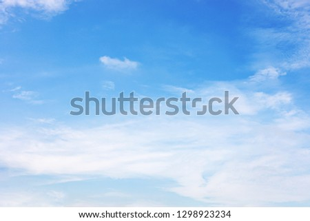Fluffy blue sky background and white clouds soft focus, and copy space. #1298923234