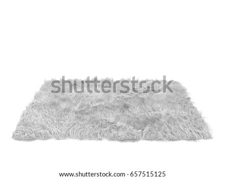 Fluffy carpet. 3d illustration isolated on white background
