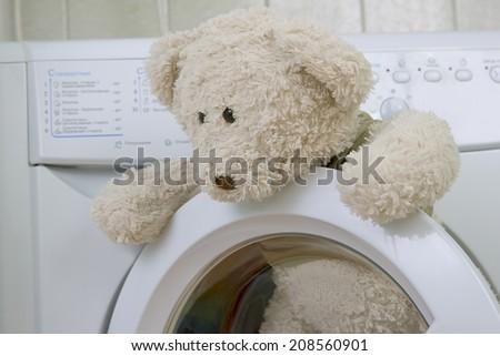 fluffy children\'s toy in the washing machine