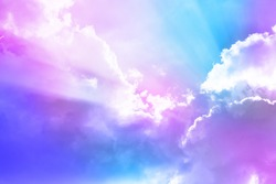 fluffy cloud background with colorful gradient