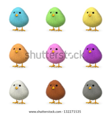 Fluffy colorful chicks isolated on white (3D render)