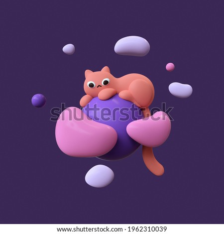 Fluffy red cartoon cat lies on blue planet floating in purple space with white pink clouds and stars. Cute magic night backdrop with flying bubbles. Sweet dream. 3d illustration in minimal art style. Foto stock ©