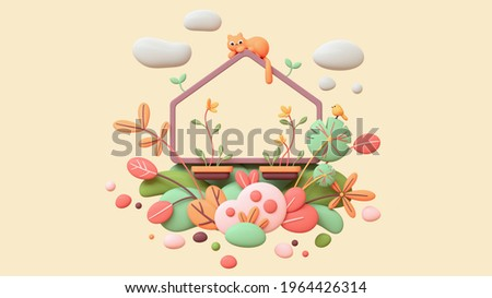 Fluffy red cat lies on balcony enjoying nature, warm spring days. Floating cute magic frame in colorful garden, green leaves of bushes, flying bubbles. 3d render in minimal art style on beige backdrop
